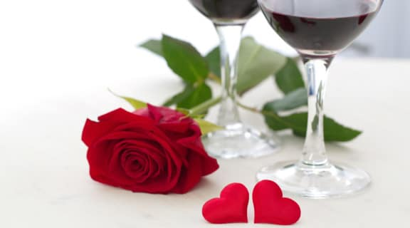 Wine, heart and rose for Valentine's day
